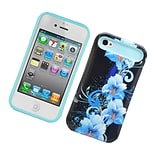 Insten Two-Tone/NightGlow Flowers Jelly Hybrid Hard Silicone Case Cover For Apple iPhone 4 / 4S - Bl