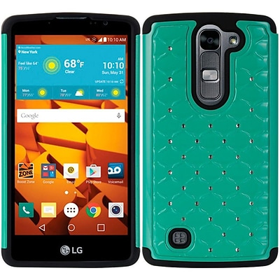 Insten Fish Scale Hard Hybrid TPU Cover Case w/Diamond For LG Volt 2 - Teal/Black