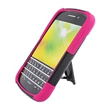 Insten Hard Dual Layer Plastic Silicone Case with stand for BlackBerry Q10 - Black/Hot Pink