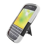 Insten Hard Hybrid Plastic Silicone Case with stand for BlackBerry Q10 - Black/White