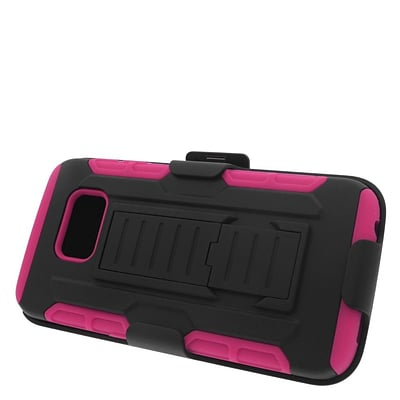 Insten Stand Dual Layer Hybrid Case with Holster For Samsung Galaxy S6 Edge - Black/Hot Pink