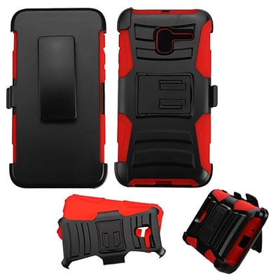 Insten Hard Hybrid Plastic Silicone Cover Case w/Holster For Alcatel Stellar - Black/Red