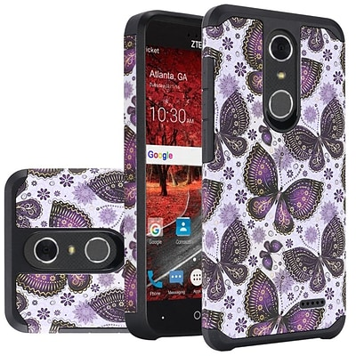 Insten Slim Rubberized Design Dual layer Hybrid Hard PC/Silicone Case For ZTE Grand X 4 - Gold Violet Butterfly Flowers