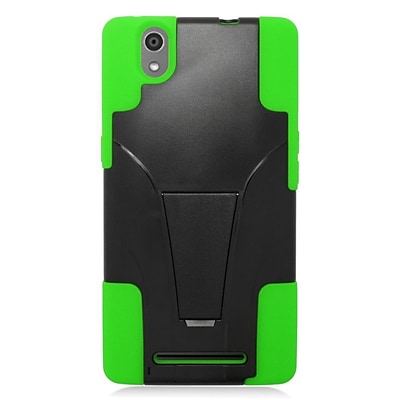 Insten Hard Dual Layer Plastic Silicone Case w/stand For ZTE ZMax - Black/Green