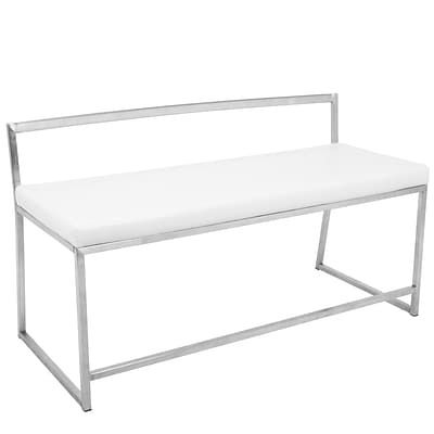 Lumisource Fuji Contemporary Dining/Entryway Bench in White (BC-FUJI W1)