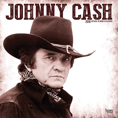 Johnny Cash 2018 12 x 12 Inch Monthly Square Wall Calendar