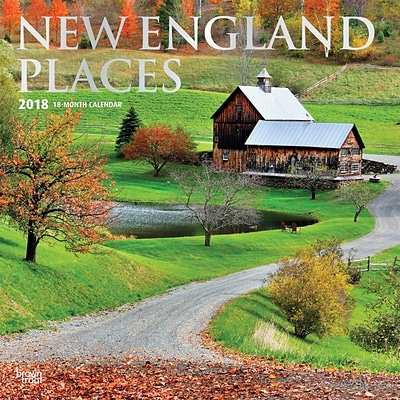 New England Places 2018 12 x 12 Inch Monthly Square Wall Calendar