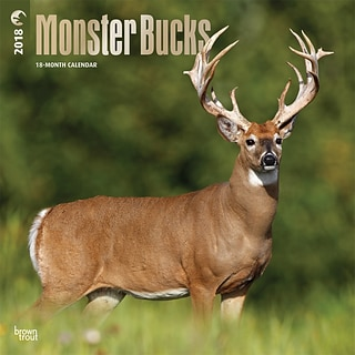 Monster Bucks 2018 12 x 12 Inch Square Wall Calendar with Foil Stamped Cover