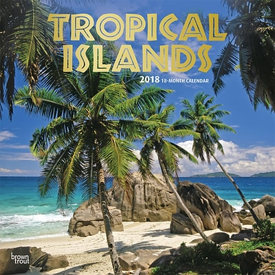 Tropical Islands 2018 12 x 12 Inch Square Wall Calendar with Foil Stamped Cover