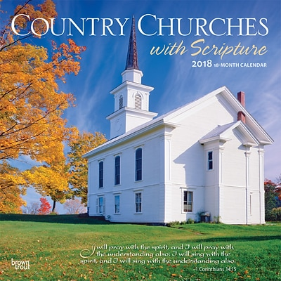Country Churches with Scripture 2018 12 x 12 Inch Monthly Square Wall Calendar