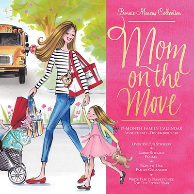 Bonnie Marcus Mom on the Move Organizer with Pocket 2018 12 x 12 Inch Monthly Square Wall Calendar with Foil Stamped Cover
