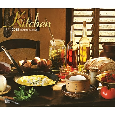 Kitchen 2018 12 x 14 Inch Monthly Deluxe Wall Calendar with Foil Stamped Cover