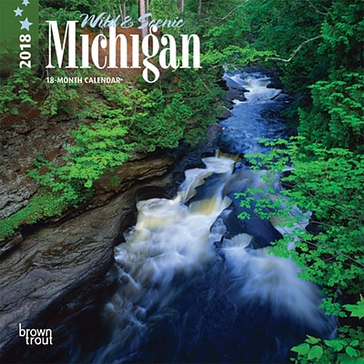 Michigan, Wild & Scenic 2018 7 x 7 Inch Monthly Mini Wall Calendar