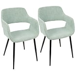LumiSource Margarite Mid-Century Modern Dining / Accent Chair in Light Green Fabric  (CH-MARG BK+LGN