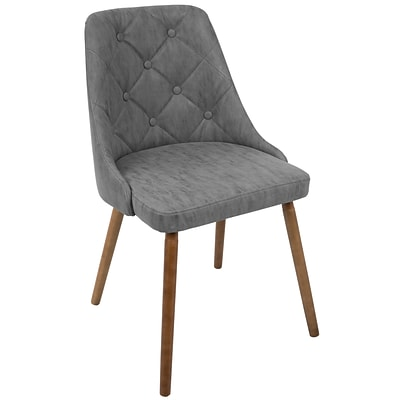LumiSource Giovanni Mid-Century Modern Dining Chair in Walnut and Grey Quilted PU (CH-GIOV WL+GY)