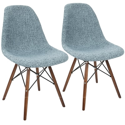 LumiSource Brady Duo Mid-Century Modern Dining / Accent Chair in Grey and Smokey Blue (CH-BRDY GYBU+E2)