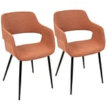 LumiSource Margarite Mid-Century Modern Dining / Accent Chair in Orange Fabric  (CH-MARG BK+O2)