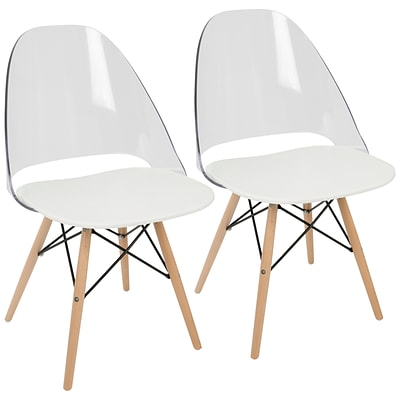 LumiSource Tonic Mid-Century Modern Dining / Accent Chair in White (CH-TNC W+NA2)