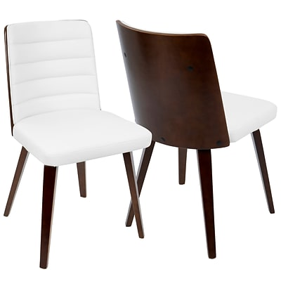 LumiSource Francesca Mid-Century Modern Chair in Cherry Wood and White PU (CH-FRN CH+W)