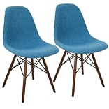 LumiSource Brady Duo Mid-Century Modern Dining / Accent Chair in Grey and Blue (CH-BRDY BU+E2)