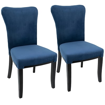 LumiSource Olivia Contemporary Dining Chair in Espresso Wood and Navy Blue Velvet (DC-OLVA E+NB2)