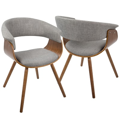 LumiSource Vintage Mod Mid-Century Modern Chair in Walnut and Light Grey (CH-VMO WL+LGY)