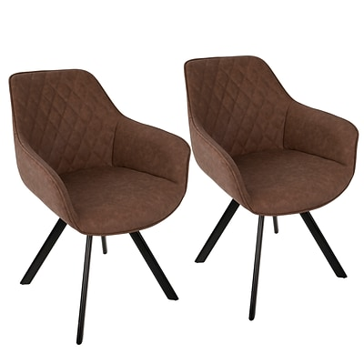 LumiSource Outlaw Industrial Dining / Accent Chair in Brown PU (CH-OUTLW BK+BN2)