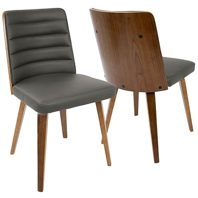 LumiSource Francesca Mid-Century Modern Chair in Walnut Wood and Grey PU (CH-FRN WL+GY)
