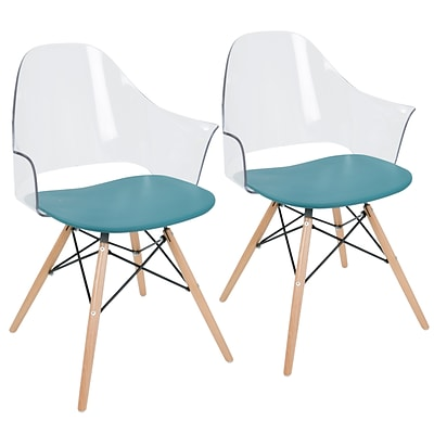 LumiSource Tonic Flair Mid-Century Modern Dining / Accent Chair in Teal Blue (CH-TNCF TL+NA2)