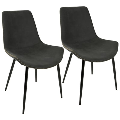 LumiSource Duke Industrial Dining Chair in Black and Grey (DC-DUKZ BK+GY2)