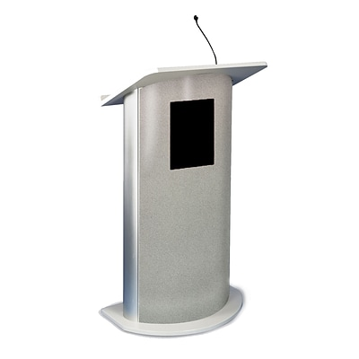 Amplivox 49H Contemporary Curved Panel Lectern, Gray Granite with Sound (SS3125)