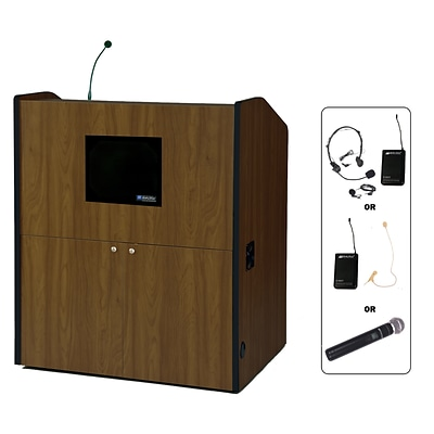 Amplivox 49H Multimedia Smart Podium Wireless Sound, Walnut Finish (SW3430-WT)