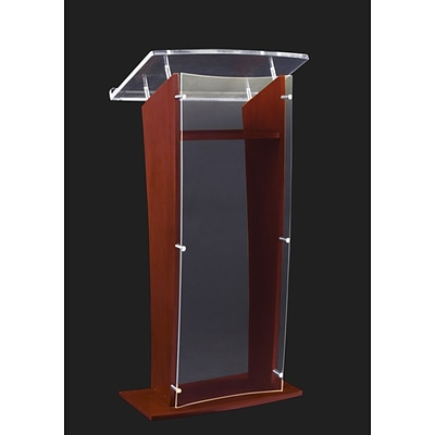 Amplivox 48H Clear H Style Acrylic with Black Cherry/Mahogany Sides and Floor Panel Lectern, Clear Finish (SN350004)