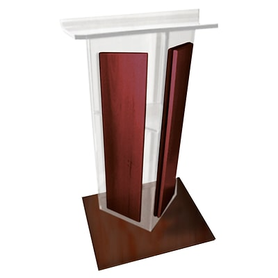 Amplivox 48H Clear V Style Acrylic with Cherry/Mahogany Sides and Floor Panel Lectern, Clear Finish (SN355004)