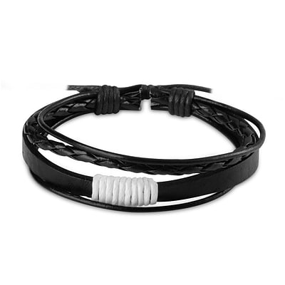 Zodaca Fashion Free-size Handcraft Leather Braided Wristband Unisex Men Ladies Multi-strand Bracelets - White/Black (2310007)