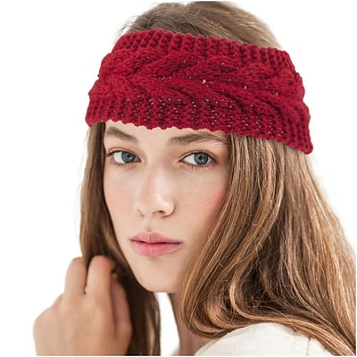 Zodaca Ladies Winter Crochet Knit Knitted Warmer Headband Hairband Headwrap Ear Band - Red