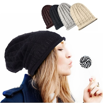 Zodaca Winter Womens Oversized Triangle Pattern Baggy Hat Crochet Beanie Knit Cap Warm Hats - Black
