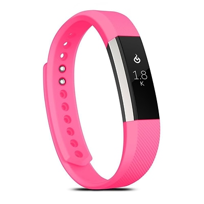 Zodaca For Fitbit Alta - Large L Size TPU Rubber Wristband Replacement Sports Watch Wrist Band Strap w/ Clasp - Hot Pink