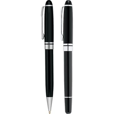 Natico Black Brass Ballpoint and Rollerball Pen Set (30-1096-SET)