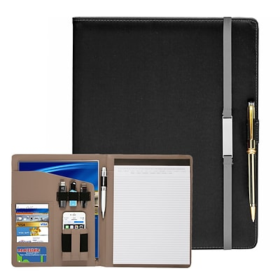 Natico Black and Grey Faux Leather Portfolio 12.5H x 9.75W (60-PF-64GY)