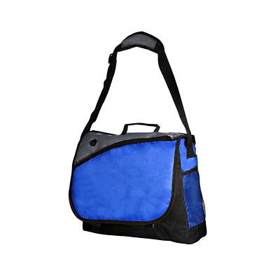 Natico Blue, Black and Grey Polyester Messenger Bag (60-MB-18BL)