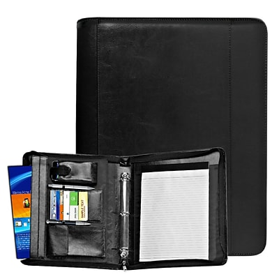 Natico Black Faux Leather Ringbinder Portfolio 13.75H x 11.75W (60-PF-42)