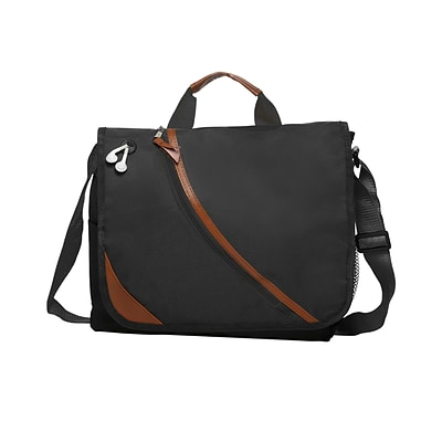 Natico Black Polyester Executive Messenger Bag (60-MB-21BK)