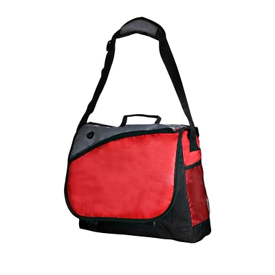Natico Red, Black and Grey Polyester Messenger Bag (60-MB-18RD)