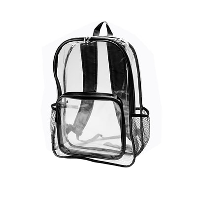 Natico Clear and Black PVC Stadium Backpack (60-BP-60BK)