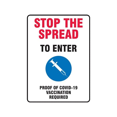 Accuform Proof of COVID-19 Vaccination Required Surface Mounting Sign, 10 x 14, White/Red/Black/Blue (MBDX500VP)