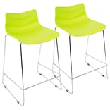 LumiSource Arrow Contemporary Counter Stool in Lime Green-Set of 2 (CS-ARROW LG2)