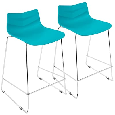 LumiSource Arrow Contemporary Counter Stool in Turqouise-Set of 2 (CS-ARROW TQ2)