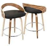 LumiSource Grotto Mid-Century Modern Counter Stool in Zebra Wood and Black PU (CS-JY-GRT ZB+BK)