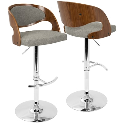 LumiSource Pino Mid-Century Modern Adjustable Barstool with Swivel in Walnut and Grey (BS-JY-PN WL+GY)